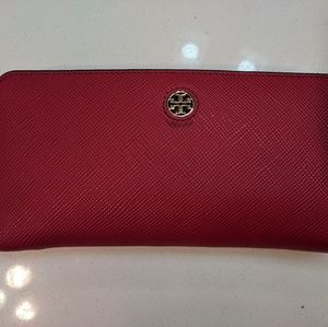 Beautiful red Tory Burch passport wallet